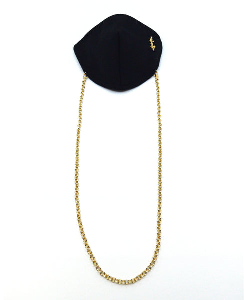 Chic Black Face Mask with Gold Chain Lanyard