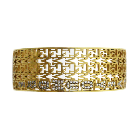 Love You More Gold Weave Cuff Bracelet