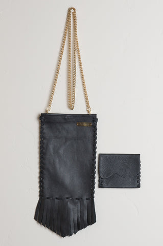 Crossbody Coachella Leather Bag in Black