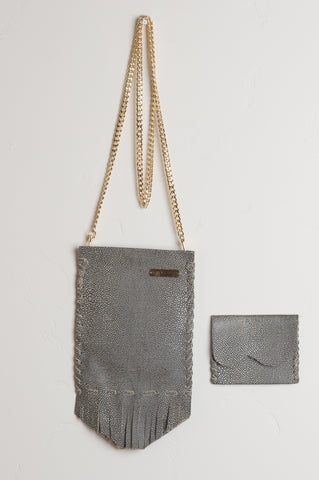 Crossbody Coachella Leather Bag in Grey