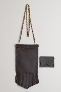 Crossbody Coachella Leather Bag in Chocolate