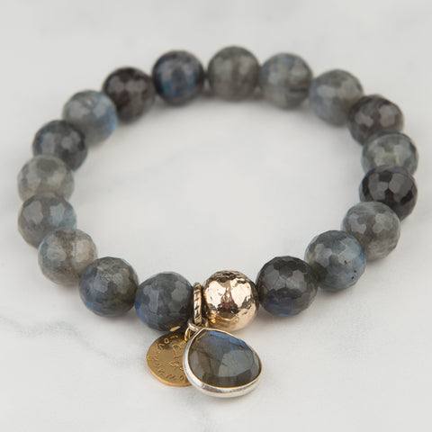 Labradorite Bracelet with Precious Stone Charm (10mm Beads)