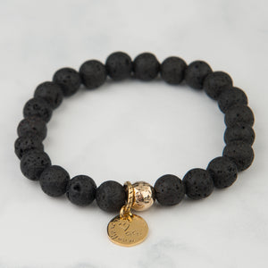 Black Lava Stackable Bracelet (8mm Beads)