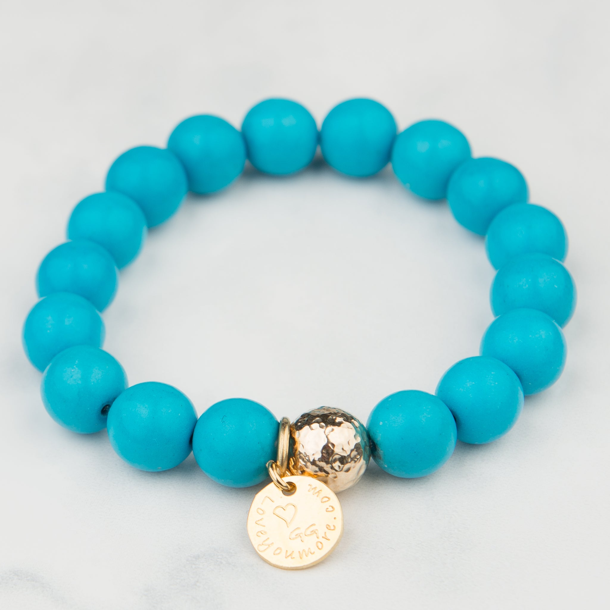 Teal Bead Bracelet (10mm Beads)