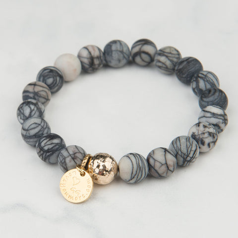 Grey and White Marble Bracelet (10mm Beads)