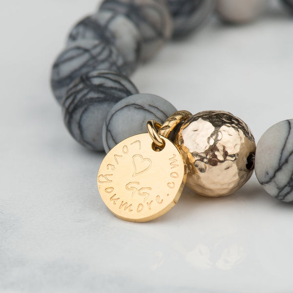The Luna Bracelet in Grey Marble