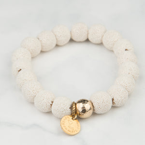 White Lava Bracelet (10mm Beads)