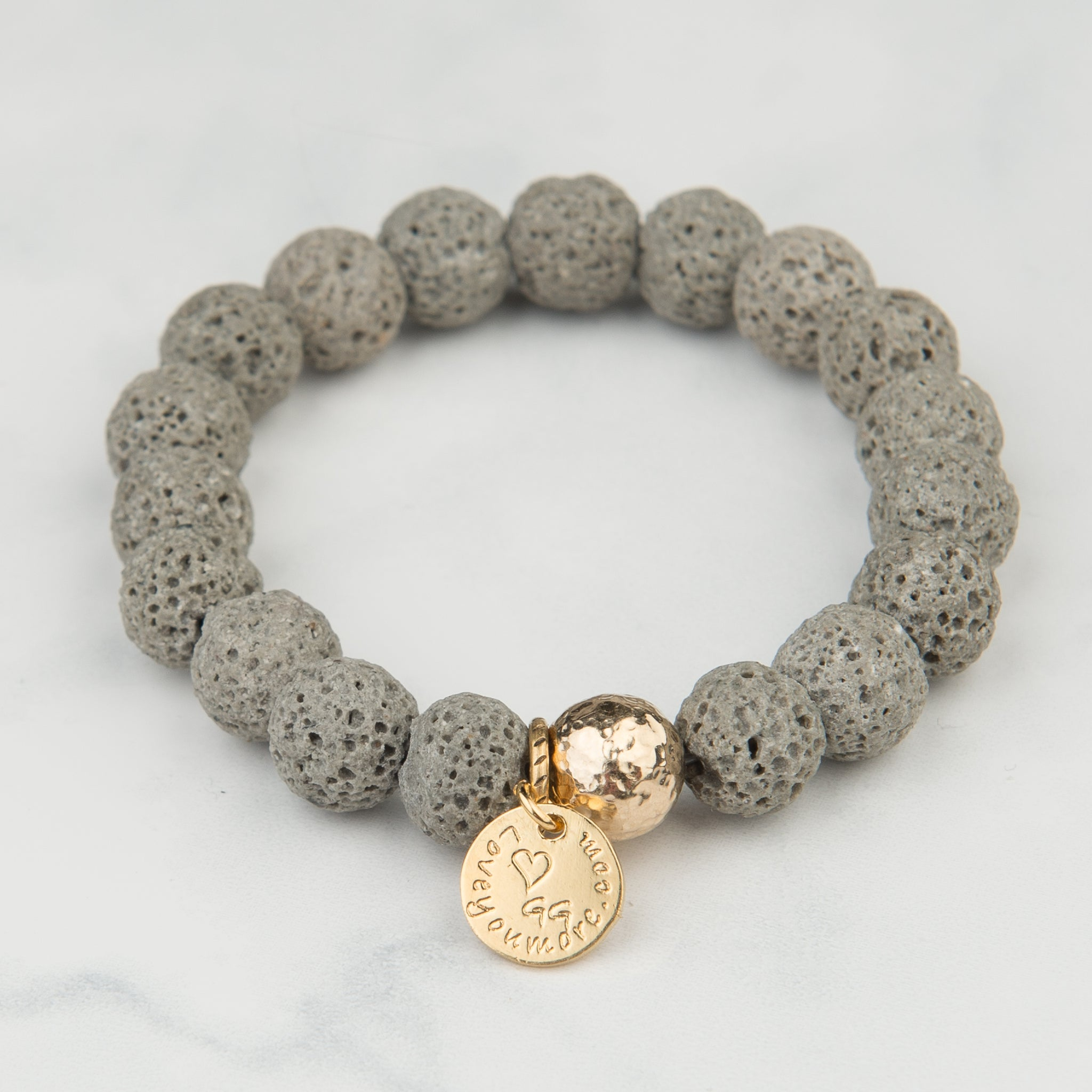 Grey Lava Bracelet (10mm Beads)