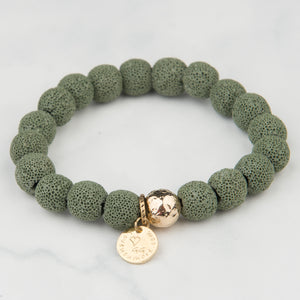 Green Lava Bracelet (10mm Beads)