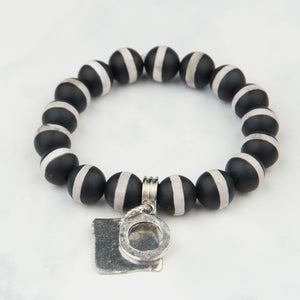Black and White Bead Bracelet with Silver Charms (10mm Beads)