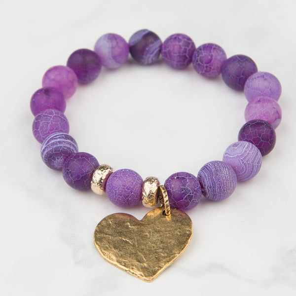 Frosted Purple Agate Bracelet with Heart Charm (10mm Beads)