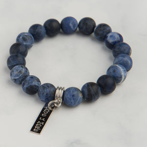 Midnight Blue Stone Bracelet with Silver Charm (10mm Beads)