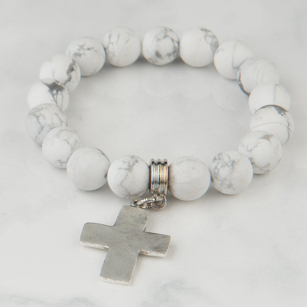 White Marble Bracelet with Silver Cross Pendant (10mm Beads)