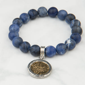 Midnight Blue Stone Bracelet with Charm (10mm Beads)