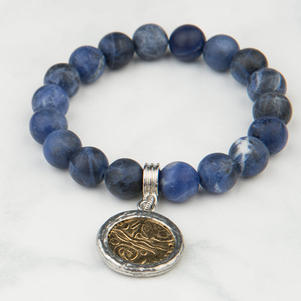 The Luna Bracelet in Midnight Blue with Charm