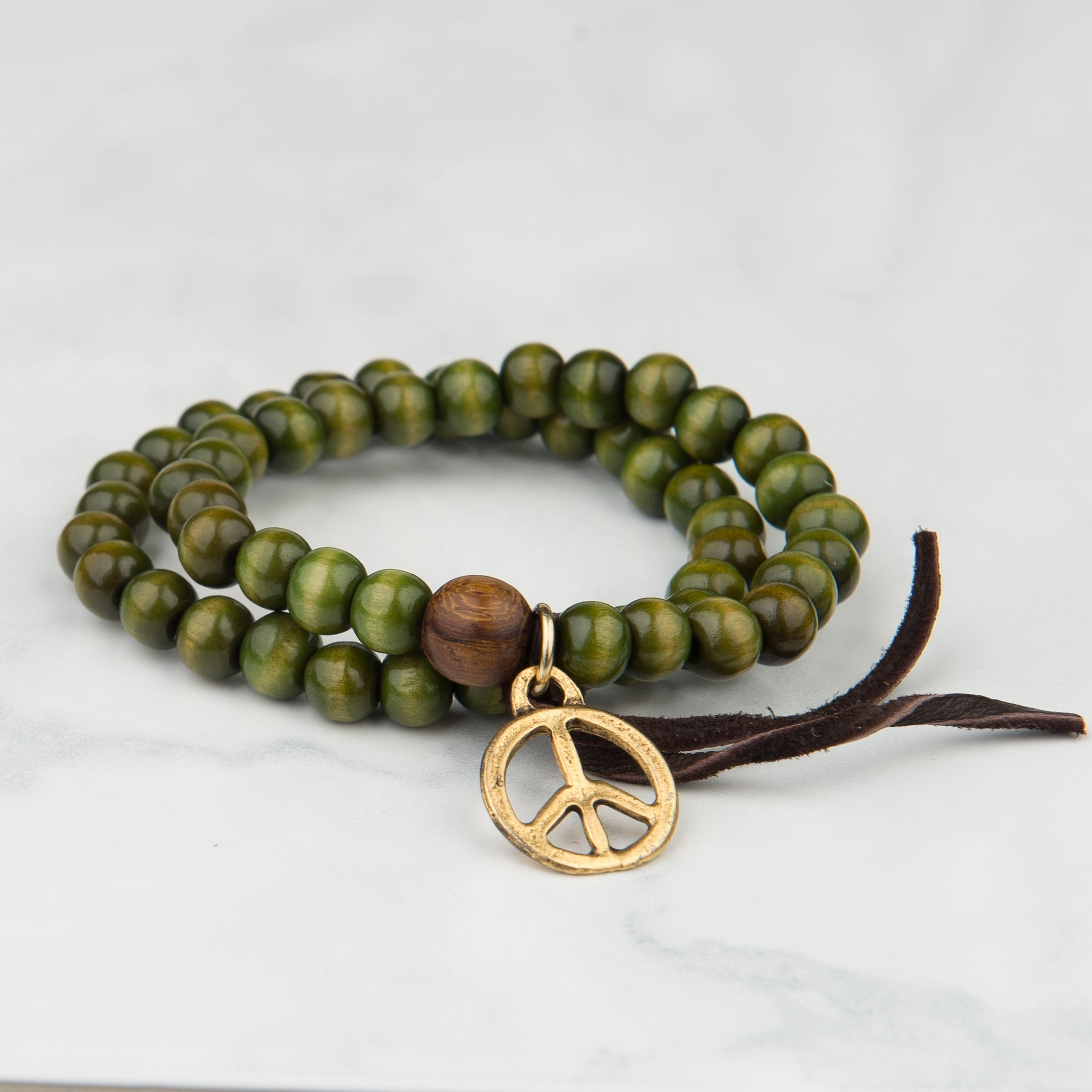 Green Peace Charm Wooden Bead Bracelet (7mm Beads)
