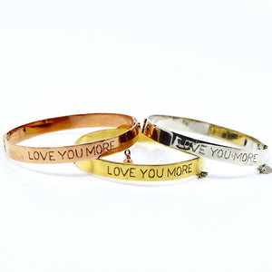 Love You More Bangle - Solid Gold, Rose Gold or Silver