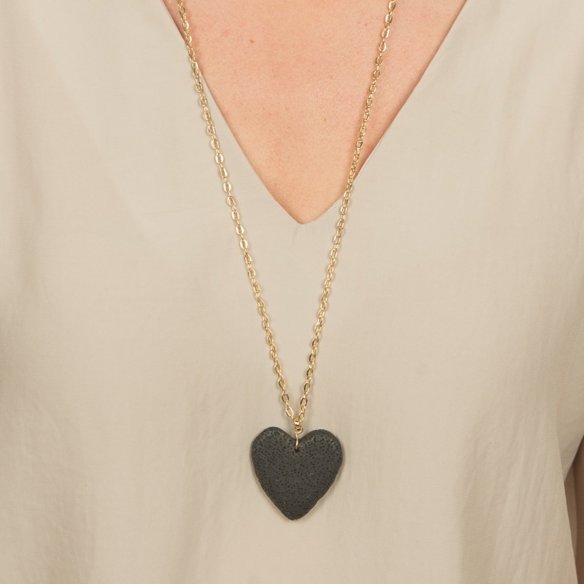 Lava Rock Heart Necklace