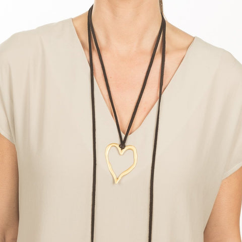 Metallic Heart Wrap Necklace