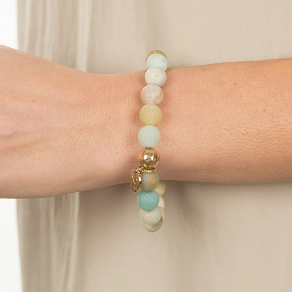 Luna Bracelet with Precious Stone Charm (10mm Beads)