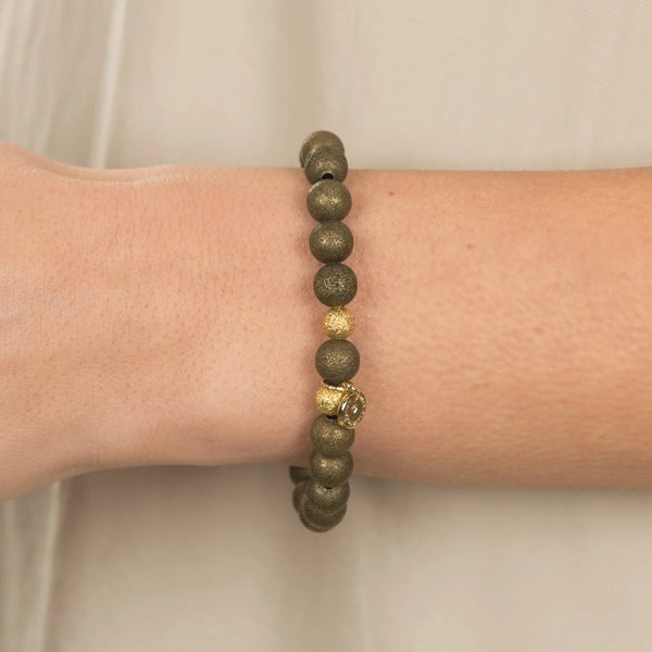 Metallic Green Bracelet (6mm Beads)