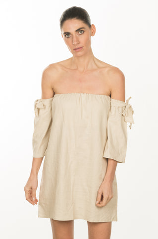 Off the Shoulder Linen Blouse Dress