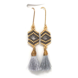 Geometric Miyuki Beaded Tassel Earrings