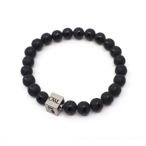 Mens Luna Bracelet in Black Onyx with Owl