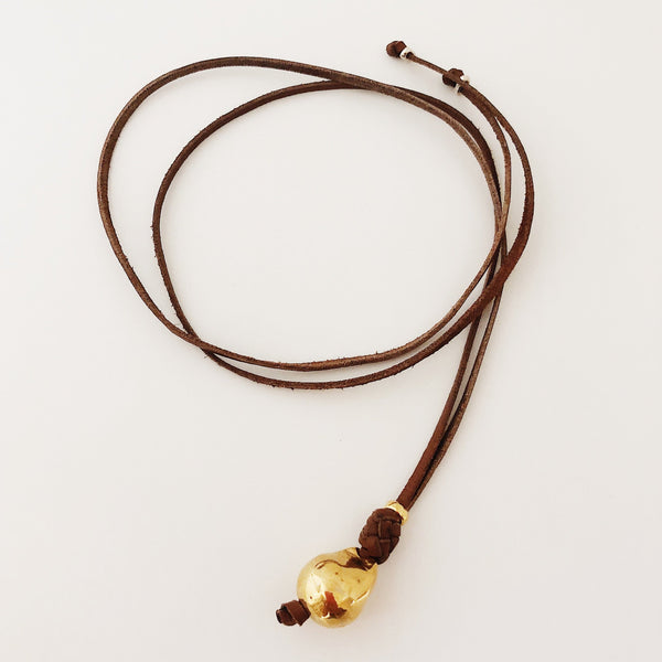 Brown Leather & Gold Filled Bead Necklace