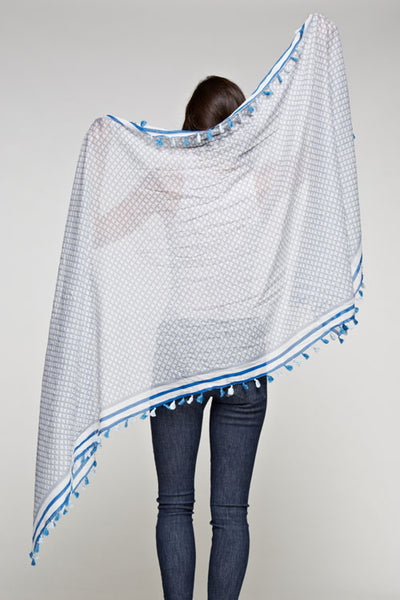 Blue and White Tassel Convertible Shawl