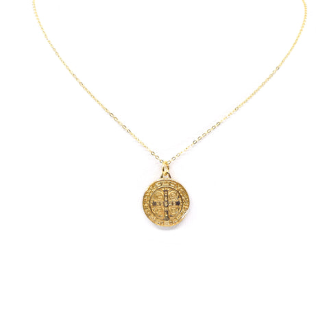 St. Benedict Necklace in Flat Gold