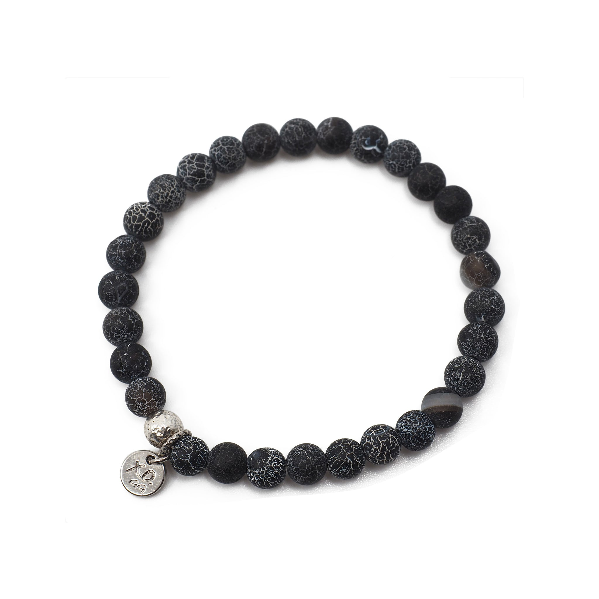 The Luna Bracelet in Black Crackle