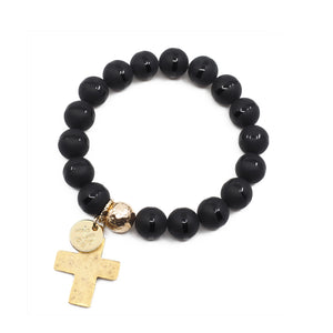 The Luna Bracelet in Black Onyx with Cross