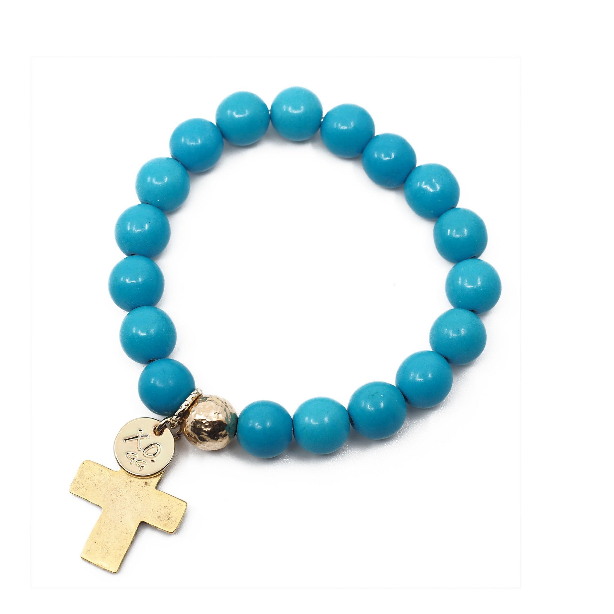 The Luna Bracelet in Teal with Cross