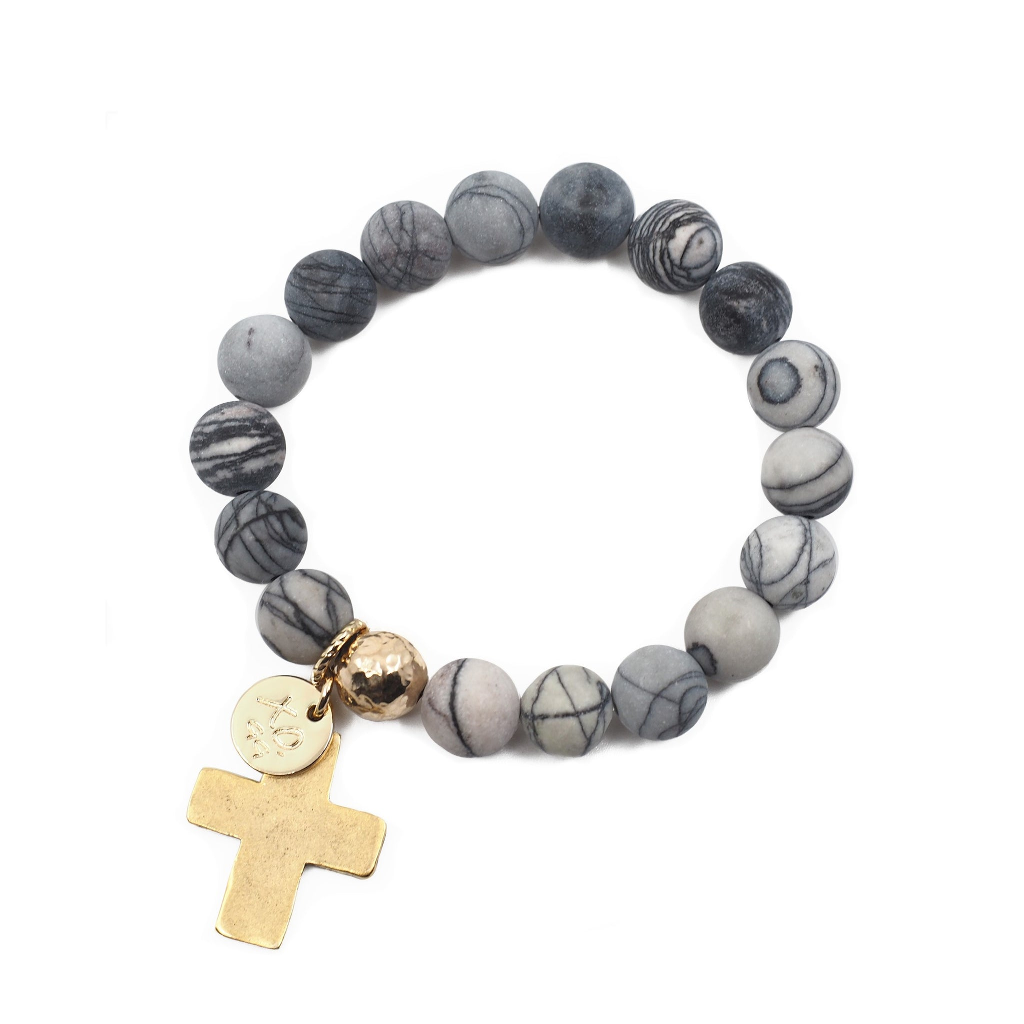 The Luna Bracelet in Grey Marble with Cross