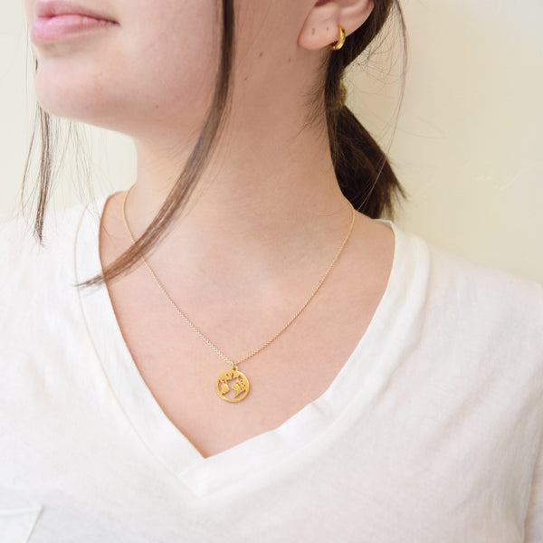 Love You More World Necklace in Gold -100% of Profits to Benefit Single Moms in Need