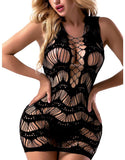 FasiCat Fishnet Mini Dress Free Size Bodysuit