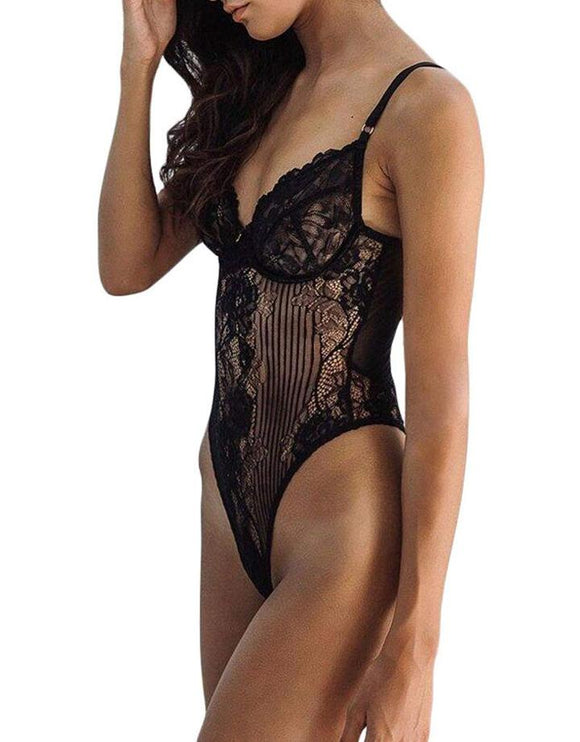 FIYOTE Hollow Out Lace One Piece Bodysuit