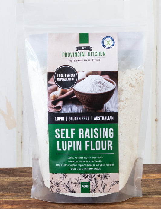 Bag of Self Raising Lupin Flour. Gluten Free, endorsed by Coeliac Australia