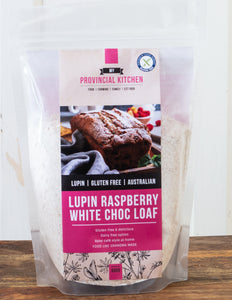 Gluten free lupin raspberry white choc loaf mix