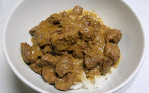 Beef Curry and white rice, ingredients include wholemeal lupin flour. Made in Western Australia.