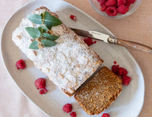 Load image into Gallery viewer, Gluten free lupin raspberry white choc loaf
