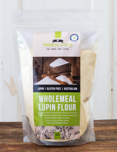 Wholemeal Lupin Flour in bag. Made in Western Australia.