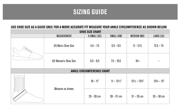 DonJoy Performance Sizing Guide for POD Ankle