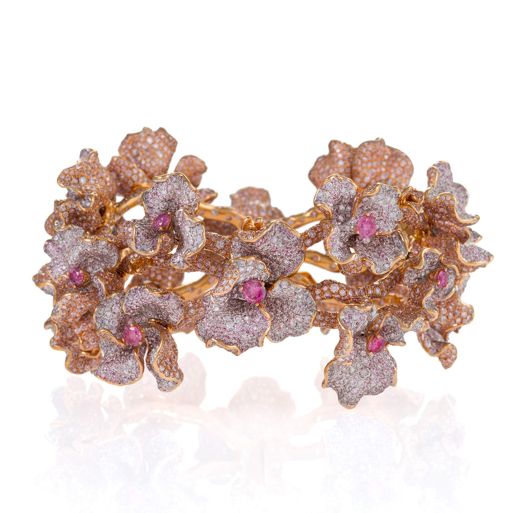 18kt rose gold bracelet of stems and pink blooms studded with over 11,000 pink diamonds
