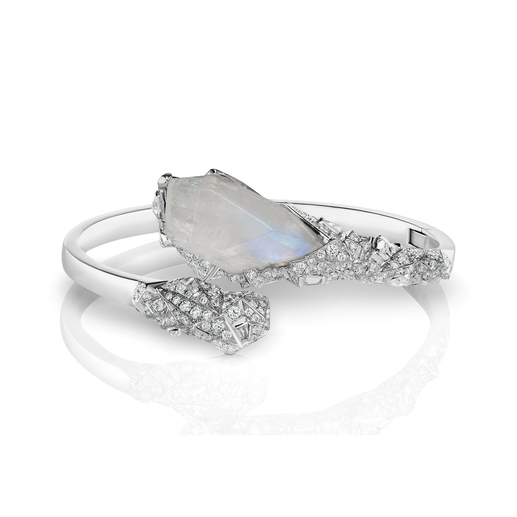 Glacially inspired moonstone and diamond bangle bracelet by Neha Dani available at Macklowe Gallery