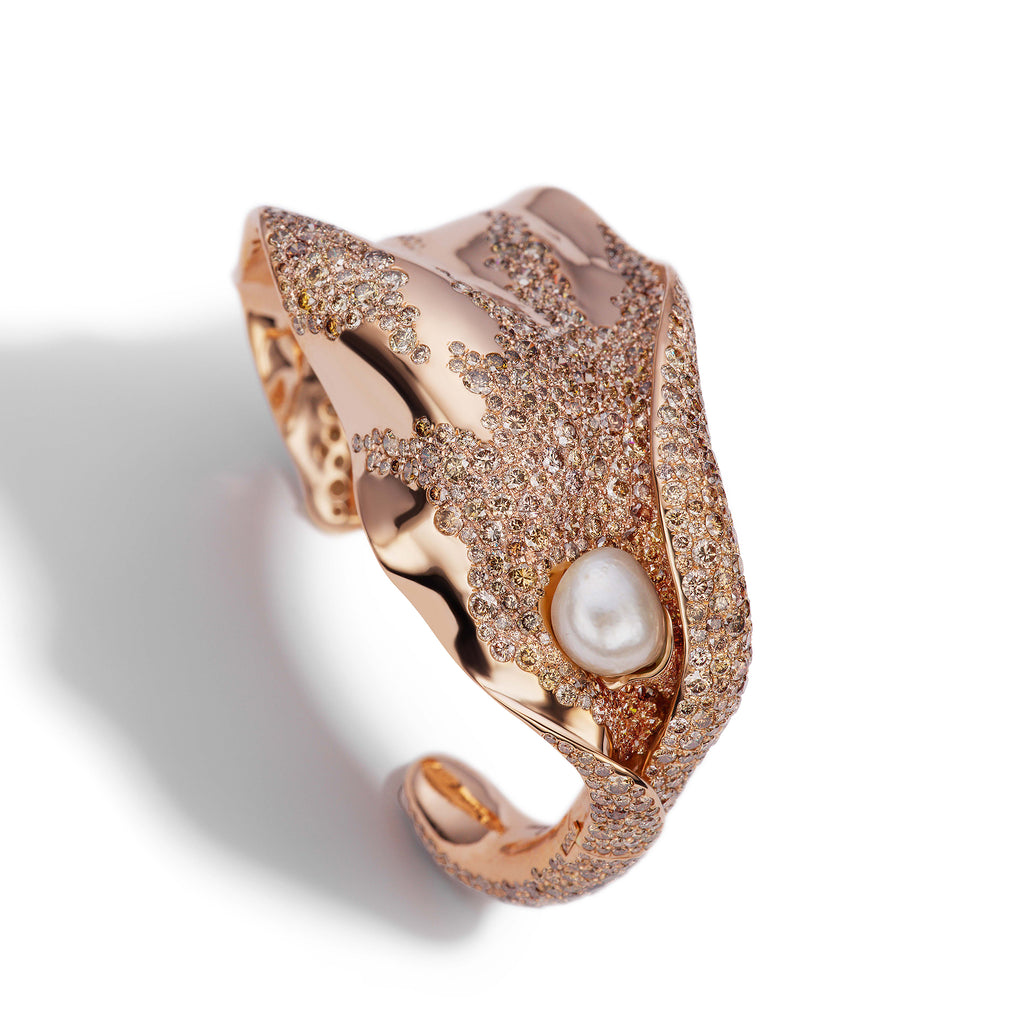 rose gold sculptural cuff by neha dani - aerial view