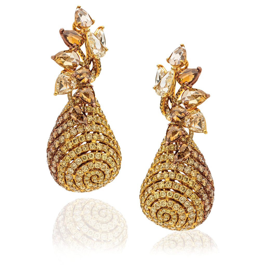Dynamic drop earrings with champagne, cognac and yellow diamonds by Neha Dani available at Macklowe Gallery