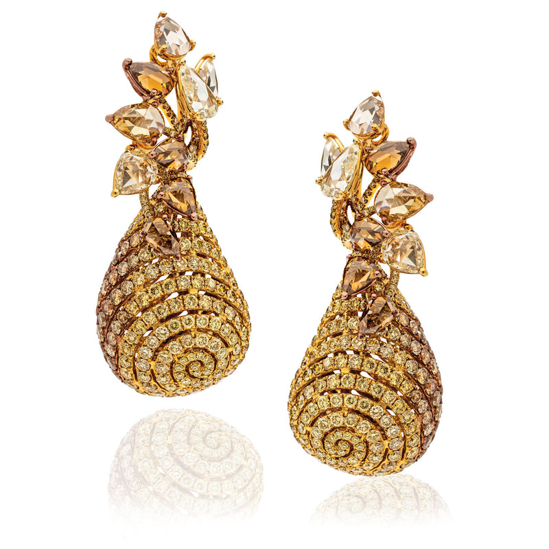 Dynamic drop earrings with champagne, cognac and yellow diamonds