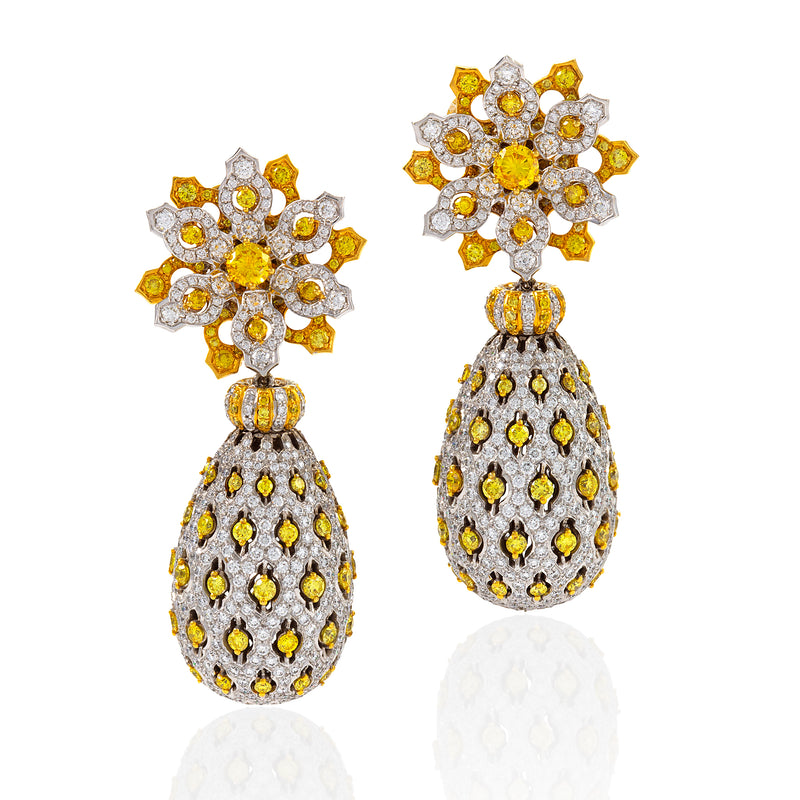 White and yellow diamond earrings in a natural fruit like motif by Neha Dani available at Macklowe Gallery